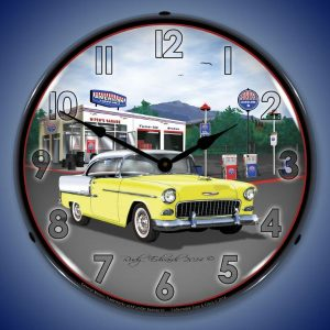 1955 Bel Air Mitch's Garage LED Lighted Wall Clock