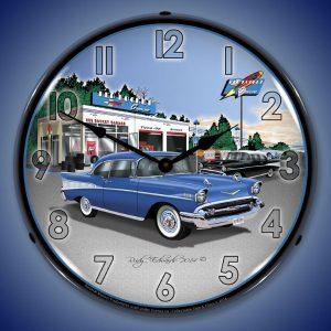 1957 Bel Air Rocket Gas LED Lighted Wall Clock
