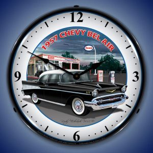 1957 Chevy Bel Air LED Lighted Wall Clock