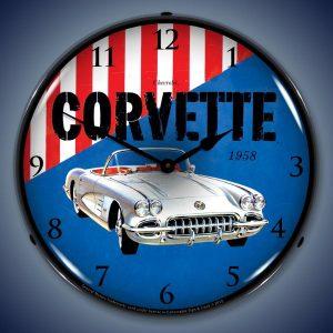 1958 Corvette LED Lighted Wall Clock