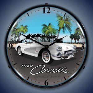 1960 Corvette LED Lighted Wall Clock