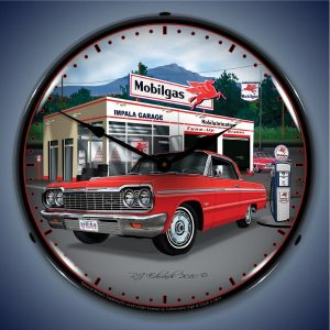 1964 Impala Mobilgas Garage LED Lighted Wall Clock