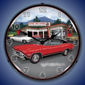 1968 SS Chevelle Shade Tree Garage LED Lighted Wall Clock