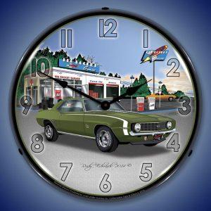 1969 Camaro SS Rocket Gas LED Lighted Wall Clock