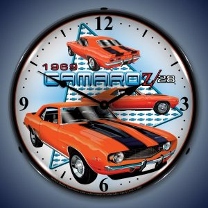 1969 Camaro Z28 LED Lighted Wall Clock