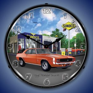 1969 RS SS Camaro Sunoco Gas LED Lighted Wall Clock