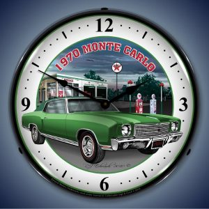 1970 Green Monte Carlo LED Lighted Wall Clock
