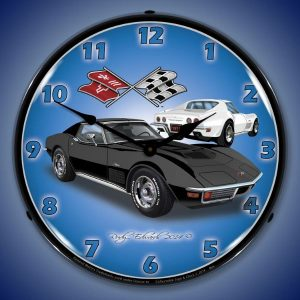 1971 Corvette Stingray Black LED Lighted Wall Clock
