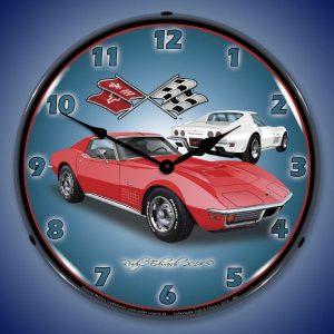 1971 Corvette Stingray Red LED Lighted Wall Clock