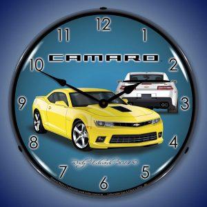 2014 SS Camaro Bright Yellow LED Lighted Wall Clock