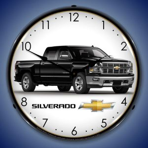 Chevrolet Silverado Black Pick-up Truck LED Lighted Wall Clock