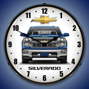 Chevrolet Silverado Blue Pick-up Truck LED Lighted Wall Clock