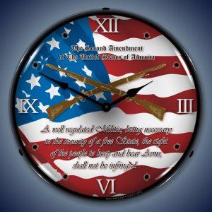 2nd Amendment LED Lighted Wall Clock