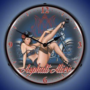 Asphalt Alice Motorcycle LED Lighted Wall Clock