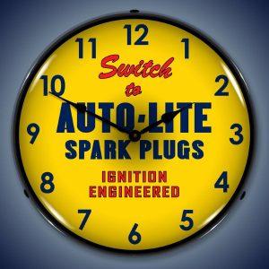 Auto-Lite Spark Plugs LED Lighted Wall Clock