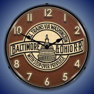 Baltimore And Ohio B&O Railroad LED Lighted Wall Clock
