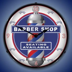 Barber Shop Clock LED Lighted Wall Clock