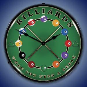 Billiards LED Lighted Wall Clock