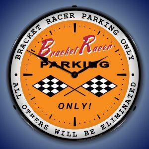 Bracket Racer Parking LED Lighted Wall Clock