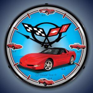 C5 Corvette History LED Lighted Wall Clock