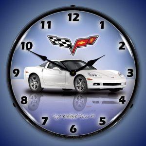 C6 Corvette Arctic White LED Lighted Wall Clock