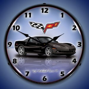 C6 Corvette Black LED Lighted Wall Clock