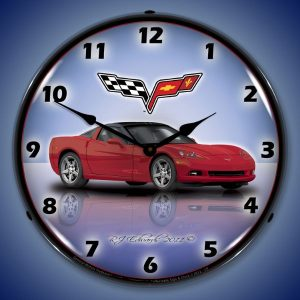 C6 Corvette Crystal Red LED Lighted Wall Clock