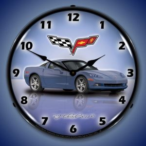 C6 Corvette Supersonic Blue LED Lighted Wall Clock