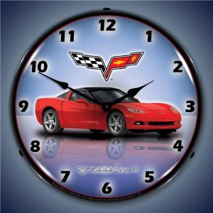 C6 Corvette Torch Red LED Lighted Wall Clock