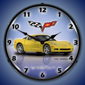C6 Corvette Velocity Yellow LED Lighted Wall Clock