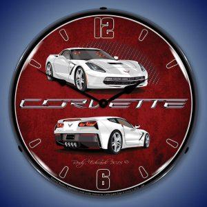 C7 Corvette Arctic White LED Lighted Wall Clock