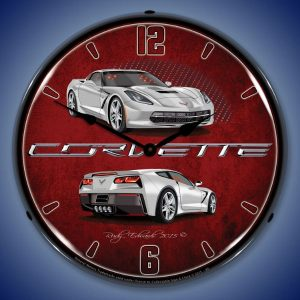 C7 Corvette Blade Silver LED Lighted Wall Clock