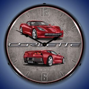 C7 Corvette Crystal Red LED Lighted Wall Clock