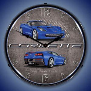 C7 Corvette Laguna Blue LED Lighted Wall Clock