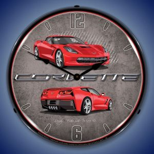 C7 Corvette Torch Red LED Lighted Wall Clock