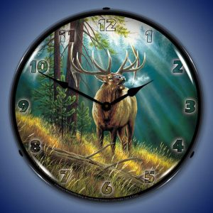 Calling All Challangers Elk By Rosemary Milette LED Lighted Wall Clock