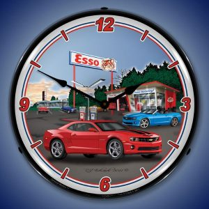 Camaro Esso Gas Station LED Lighted Wall Clock