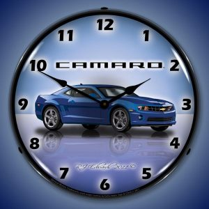 Camaro G5 Imperial Blue LED Lighted Wall Clock