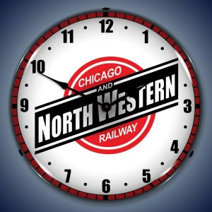 Chicago And North Western Railway LED Lighted Wall Clock