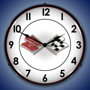 Corvette Flags LED Lighted Wall Clock