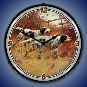 English Setters LED Lighted Wall Clock
