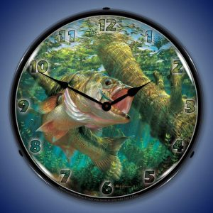 Fishing The Wood Largemouth Bass By Mark Susinno LED Lighted Wall Clock