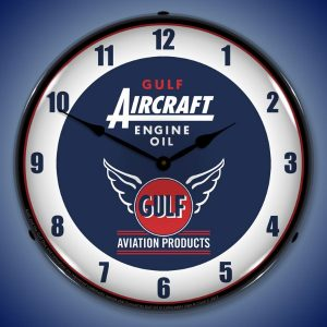 Gulf Aircraft Engine Oil LED Lighted Wall Clock