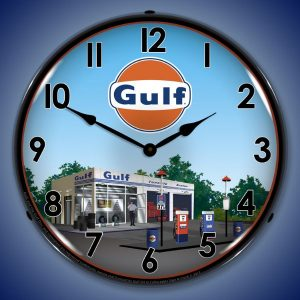 Gulf Station LED Lighted Wall Clock