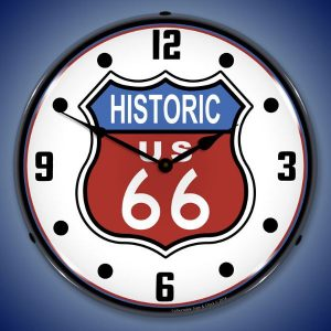 Historic Route 66 LED Lighted Wall Clock
