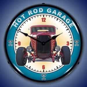 Hot Rod Garage LED Lighted Wall Clock