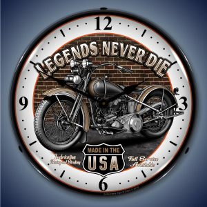 Legends Never Die Motorcycle LED Lighted Wall Clock