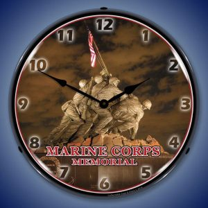 Marine Corps Memorial Iwo Jima LED Lighted Wall Clock