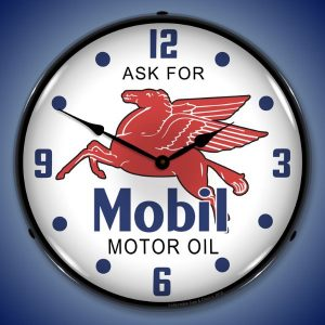 Ask For Mobile Oil LED Lighted Wall Clock