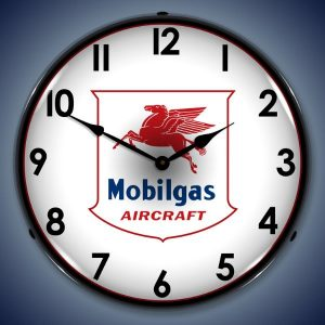Mobil Gas Aircraft LED Lighted Wall Clock